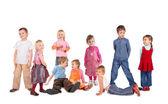 Many children on white, collage — Stock Photo