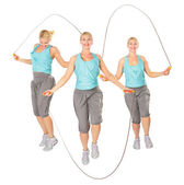 Three women with a skipping rope, collage — Stock Photo