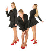 Three young girl in suit, collage — Stock Photo