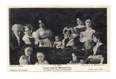 Old post card with prince Chakhowsky family portrait — Stock Photo
