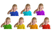 Boys in iridescent sports shirts show gesture ok, collage — Stock Photo