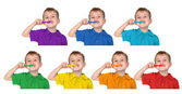 Boys in iridescent sports shirts show with the toothbrush , coll — Stock Photo