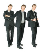 Three businessmen in suit standing on white background, collage — Stock Photo