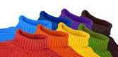 Grupo de multi color arco iris suéteres collage — Foto de Stock