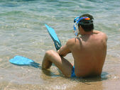 Man sand snorkel — Stock Photo