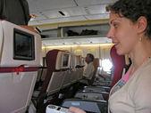 飛行機サロン女性 — ストック写真