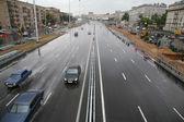 Urban street in rainy day — Stock Photo