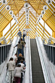 On the escalator of pedestrian bridge — Foto Stock