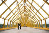 Пешеходов на пешеходных моста — Стоковое фото