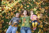 Mujer con el hijo y la hija se encuentran en el pasto 2 — Foto de Stock