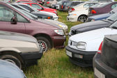 Many cars on the grass — Stock Photo