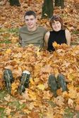 Young roller couple sit in yellow leaves — Stock Photo