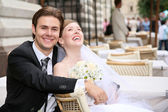 Fiance with the bride in the cafe — Stock Photo