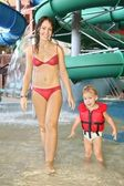 Mother and child in aquapark — Stock Photo