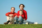 Family sits on to the meadow — Stock Photo
