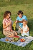Parents with daughter on picnic — Stok fotoğraf