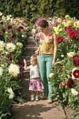 Mother and children in flowers — Stock Photo