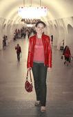 Woman in metro — Stock Photo