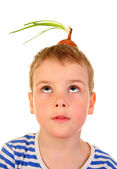 Boy with the bulb in the head — Stockfoto