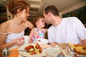 Family hotel dinner — Stock Photo
