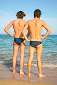 Two men on a beach — Stock Photo