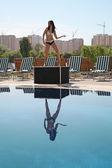 žena taneční bazén — Stock fotografie