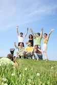 The group is joyfully photographed — Stock Photo