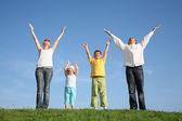 Family of four on grass with hands up — Stock Photo