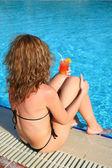 Woman cocktail bikini — Stock Photo