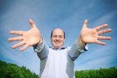 Man hands forward — Stock Photo