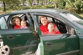 Family sitting in car 2 — Stock Photo
