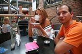 Adam kadını café — Stok fotoğraf