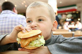 Boy eats the sandwich — Stock Photo