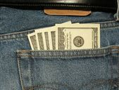 Close-up of money in the pocket — Stock Photo