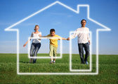 Family grass sky. dream house — Stock Photo