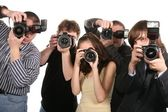 Five photographers — Stock Photo