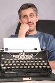 Man and typewriter 2 — Stock Photo