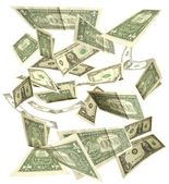 Dollars fall isolated on white background 3 — Stock Photo