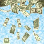 Dollars fall isolated on cloudy sky background — Stock Photo