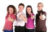 Groep vrienden maken gebaren geïsoleerd op wit — Stockfoto