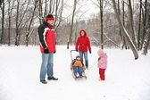 Parents with children walk in the park at winter — Stok fotoğraf