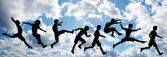 Jump children on cloud sky — Stock Photo