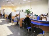 Visitors in bank — Stock Photo