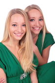 Twin girls faces close-up — Stock Photo