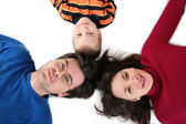 Parents with son lying top view — Stock Photo