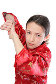 Kung fu girl blow — Stock Photo