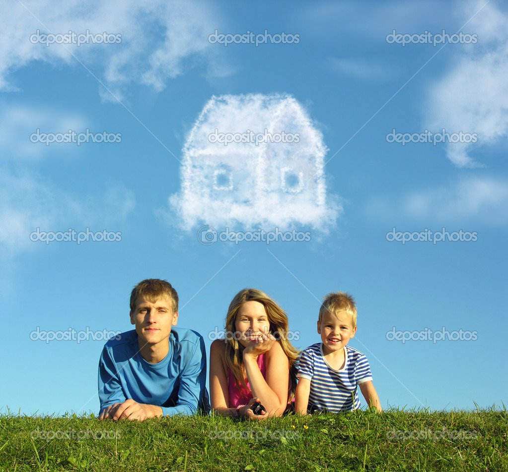 Family with boy on grass and dream cloud house collage — Stock Photo #7430045
