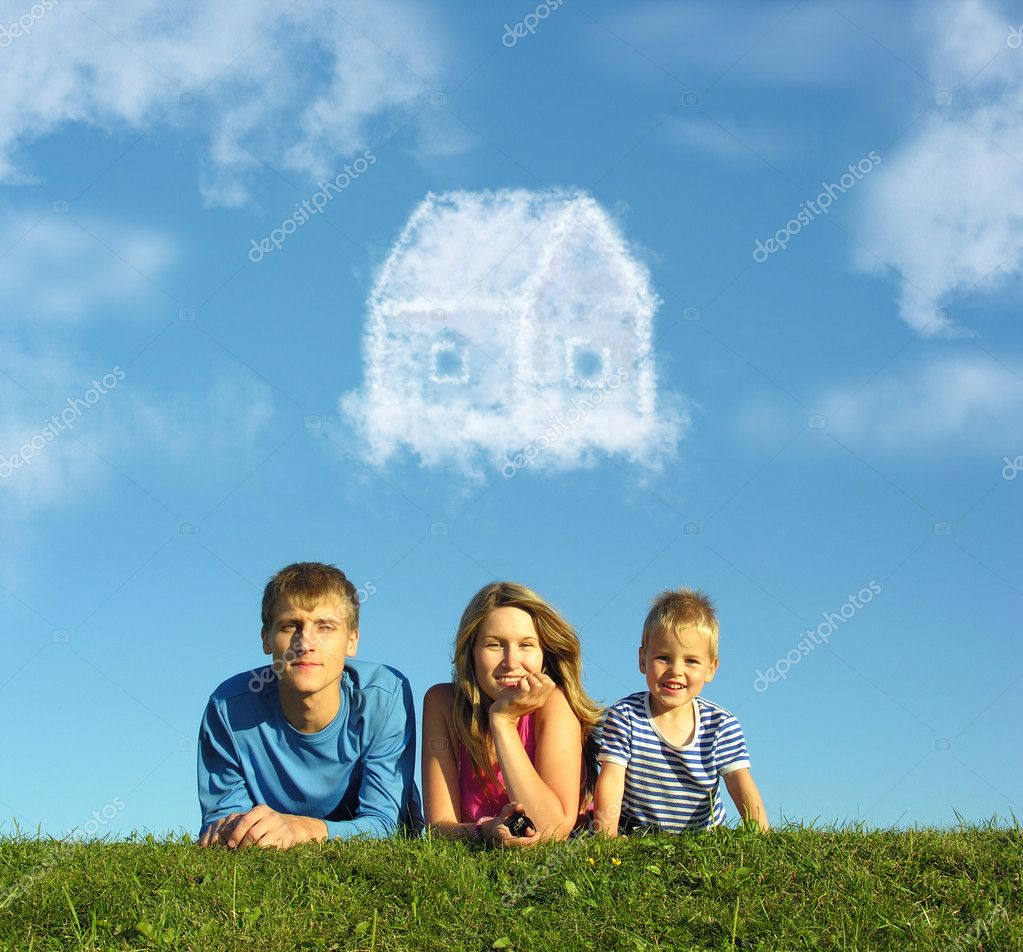 Family with boy on grass and dream cloud house collage for Family sogno