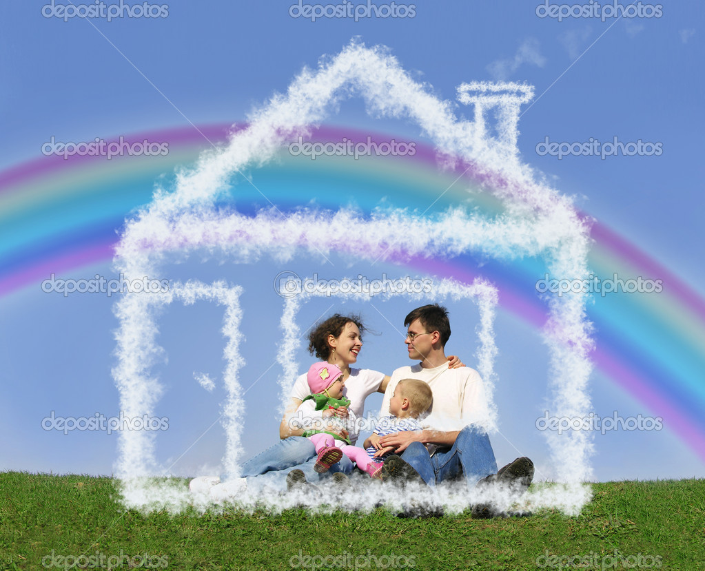 Family of four sitting in dream house and rainbow collage  Photo #7432553