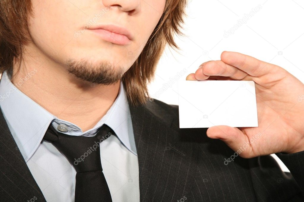Bisnessman with card — Stock Photo #7437743